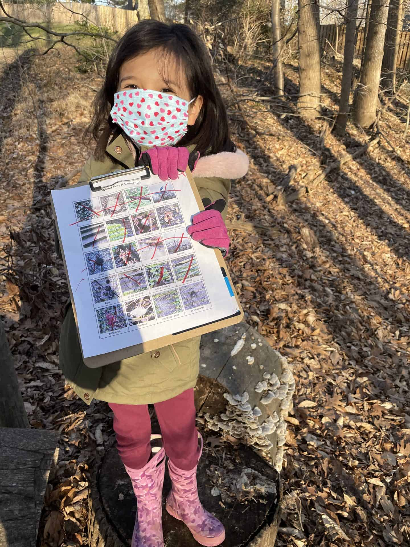 winter forest scavenger hunt printable picture