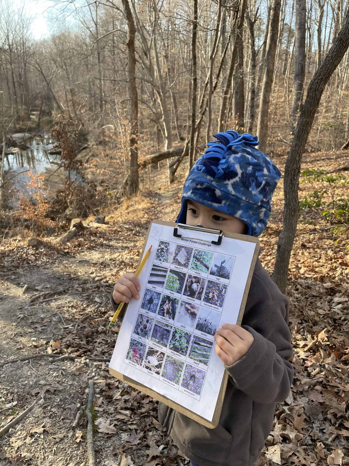 winter forest scavenger hunt with kids